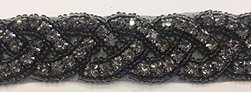 Black Beaded Belt (ModaTrims Hot-Fix or Sew-On Beaded Crystal Rhinestone Trim by Yard for Bridal Belt Wedding Sash (Black Crystals, Black Beads, Black Cups, 1 Yard x 1 Inch Wide ) -)