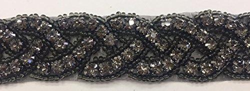 ModaTrims Hot-Fix or Sew-On Beaded Crystal Rhinestone Trim by Yard for Bridal Belt Wedding Sash (Black Crystals, Black Beads, Black Cups, 1 Yard x 1 Inch Wide ) (Black Beaded Belt)