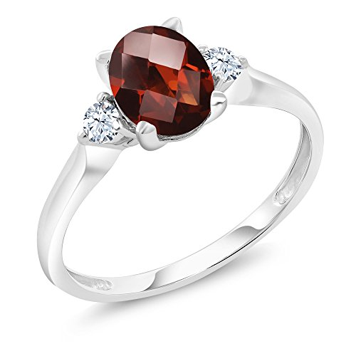 White Gold Garnet Ring (10K White Gold 1.50 Ct Checkerboard Garnet White Created Sapphire 3-Stone Ring (Available in size 5, 6, 7, 8, 9))