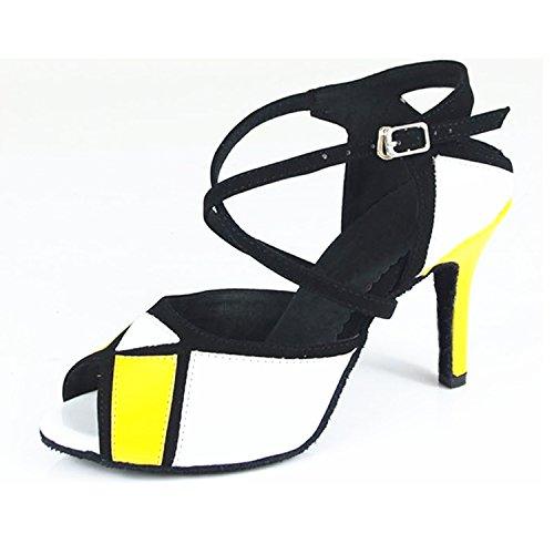 5 Regalo tango de YFF de baile LEIT baile latino de Salón Mujer 38 de cm 8 Zapatos Baile baile Zapatos amarillo blanco Tq7xWdx5Zw