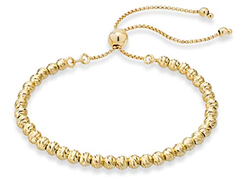 MiaBella 925 Sterling Silver Diamond-Cut Adjustable Bolo 4mm Bead Bracelet for Women, Handmade Italian Beaded Ball Chain Bracelet, Choice White or Yellow (Yellow-Gold-Plated-Silver)