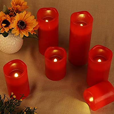 Red Flameless LED Votive Candle Lights,Set of 6 (D3 x H 3