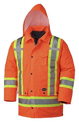Pioneer V1120150-2XL Hi-Viz Waterproof 6-in-1 Safety Parka Jacket, 2 Large Cargo Pockets, Orange, 2XL