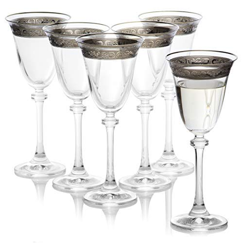 Dailyware Aerating Durable and Handcrafted // 6.25 ounces 185 milliliters Decorative Crystal Wine Glasses Set of 6 // Painted Bohemia Crystal