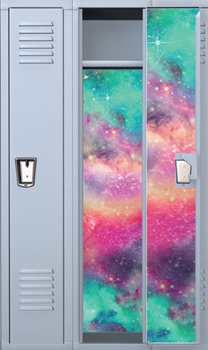 Vinyl Locker Wallpaper- 4 Pre-Cut Full Length Panels with 48 Adhesive Magnets: Colored Galaxy
