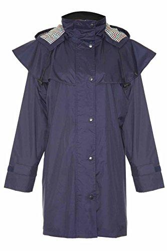 Damen Riding Coats leicht wasserdicht mit Innenseite Futter und abnehmbare Kapuze 3Quarter Länge (10, Navy)