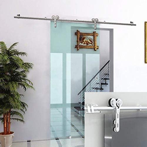 Herraje para Puerta Corredera Kit 5ft-9.8ft Puerta de granero Carril de riel colgante de acero inoxidable - Kit completo de hardware, Accesorios para puertas telescópicas de puerta corrediza de vidrio: Amazon.es: Hogar