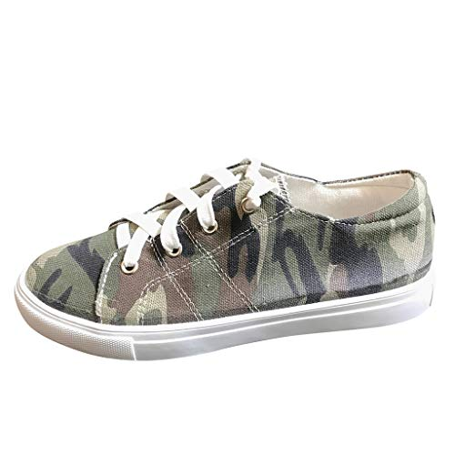 Womens Canvas Fashion Sneakers Classic Flat Sports Walking Running Shoes Camouflage Low Top Lace Up Shoes (US:9, Green)