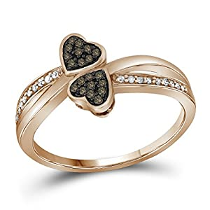 Size 9.5 - 10k Rose Gold Round Chocolate Brown Diamond Heart Love Ring (1/10 Cttw)