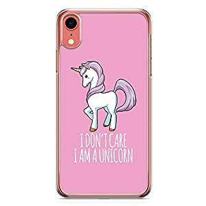 Loud Universe Phone Case For iPhone XR Transparent Edge Unicorn Phone Case i Dont Care Phone Case Pretty iPhone XR Cover