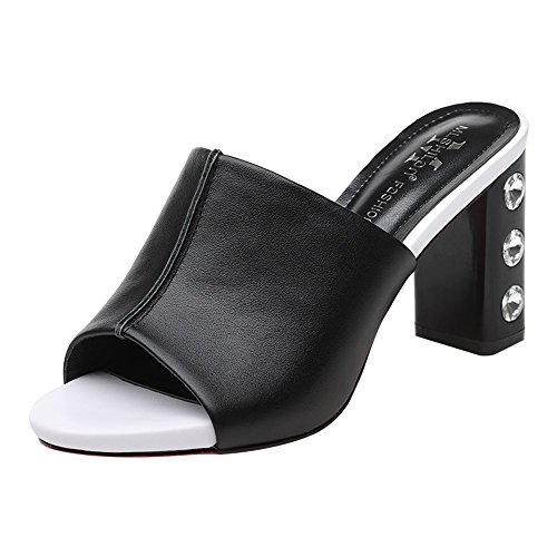 Sandals ZHIRONG Fish Mouth Shoe Summer Vintage Women's Open Toe Rhinestone High Heels Waterproof Platform Roman Slippers 8.5CM (Color : White, Size : EU37/UK4.5-5/CN37) Black