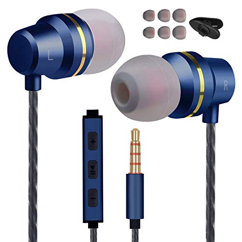 Earbuds Ear Buds Wired Headphones with Microphone in Ear Earphones with Stereo Mic and Volume Control Compatible Android Smart Phones Samsung Music Noise Cancelling Earbuds with 3.5mm Jack (Black)