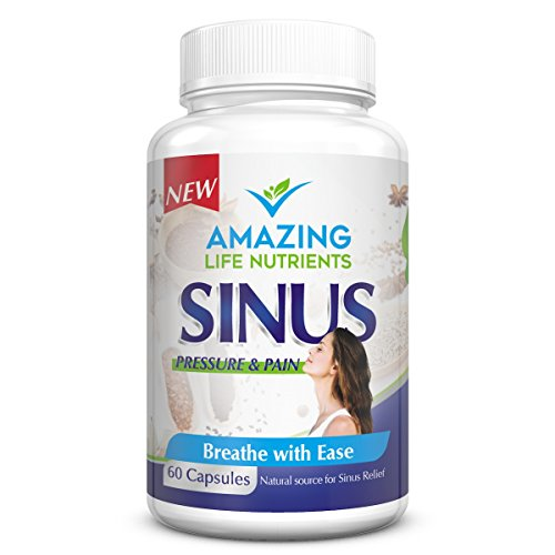 BEST All Natural Sinus Relief from Herbal Ingredients & Wholefoods Non GMO Allergy Relief & Sinus Headache Relief - Vegan and Vegetarian Friendly Contains Peppermint Leaf Horseradish Root -60 Capsules