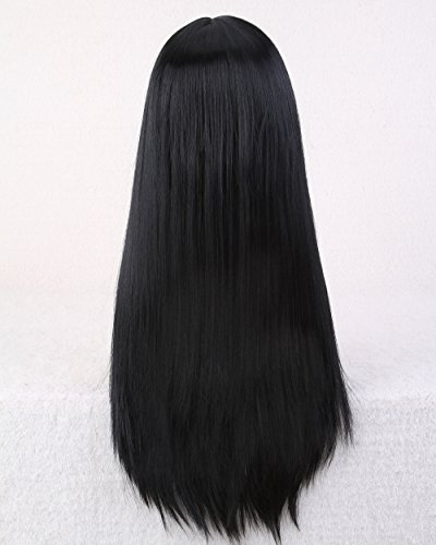 Cool2day Cosplay 70cm Long Straight Black Hair No Bangs Women