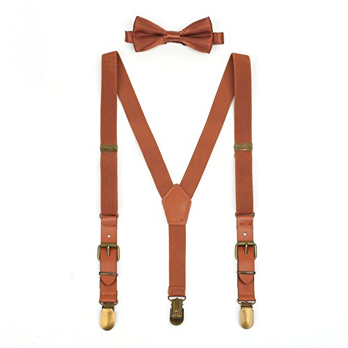 Suspenders & Bowtie Set for Kids and Baby - Y Back Adjustable Strong Clips Synthetic Leather (Brown Leather Bow)