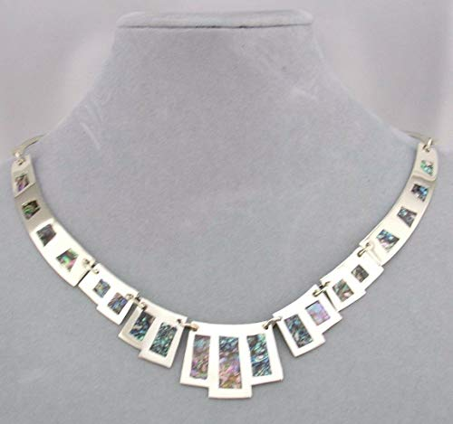 (Fashion Jewelry Necklace Set Alpaca Silver Abalone Egyptian Inspired New #ID-81)