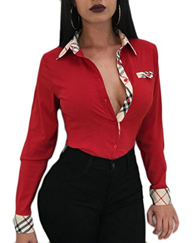 (M&S&W Womens Slim Fitted Inner Contrast Sexy Long Sleeved Button-Front Shirt Red M)