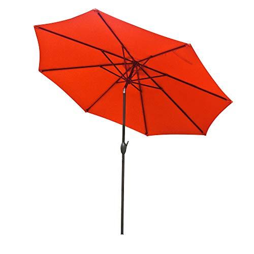 Aok Garden 10Ft Patio Outdoor Umbrella Market Table Fade-Resistant Umbrella with Push Button Tilt and Crank for Garden Backyard Deck, Orange