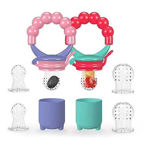 Youen Fresh Food Fruit Feeder Baby Pacifier, Silicone Feeding Pacifier for Baby - 3 Sizes Teether Food Mesh,Infant Fruit Teething Toy, 2 Pack