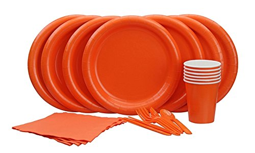Orange Party Set, Silver Spoons Premium Microwave Safe Orange Party Set For 24 guests, Includes 24 Orange Dinner Plates, 32 Set of Cutlery, 20 (Orange Party Supplies)