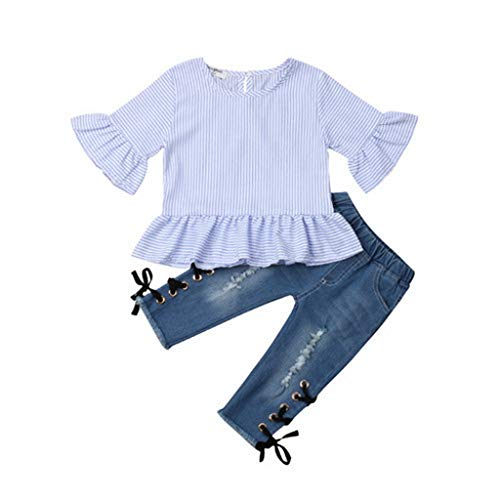 HZB Lovely Cute Fashion Newborn Toddler Infant Kids Baby Girl Ruffle Stripe Tops Denim Pants Jeans 2Pcs Outfits Clothes 4T]()