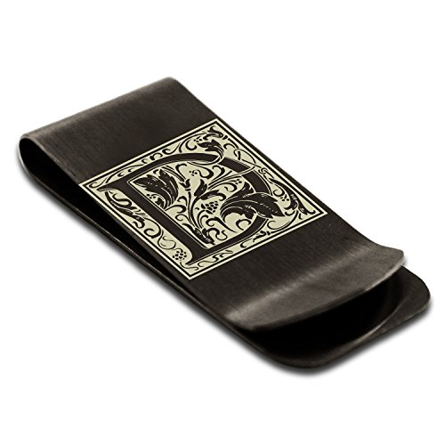Letter Credit Floral Money Holder Clip Card Black D Steel Initial Monogram Stainless Tioneer Engraved XqvFEw