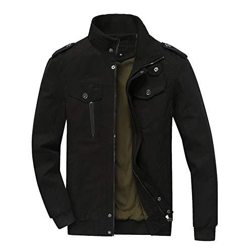 Fit Invierno Hombre Larga Slim Peso Ligero Cortavientos Poonkuos Estilo Manga Jacket Negro Chaqueta De Militar Algodón IwgqdA