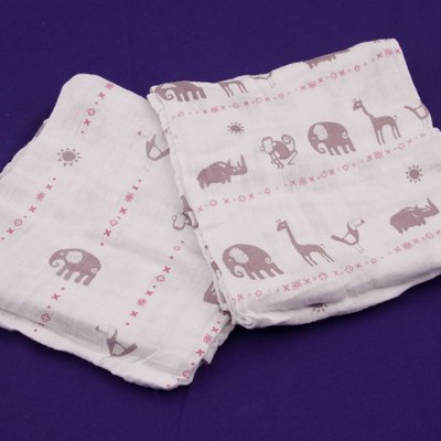 Jungle Animals Pink & Purple - 4 Pack, Organic Muslin Swaddli