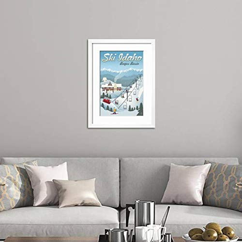 ArtEdge Bogus Basin, Idaho-Retro Ski Resort White Wall Art Framed Print, 24×16, Soft Mat