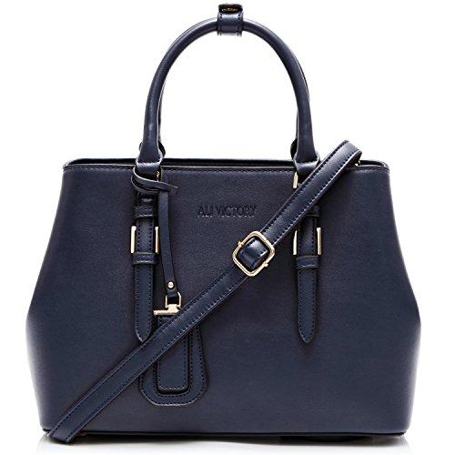 Ali Victory Classy Top Handle Satchel Handbags for Women (Blue)