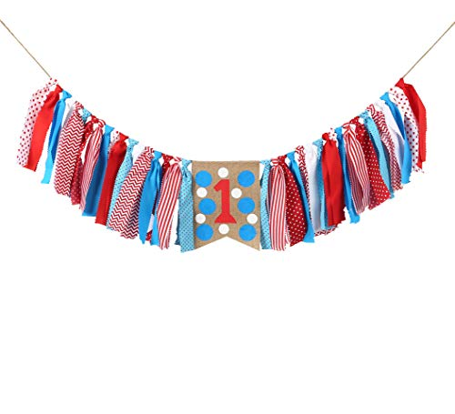 WAOUH 1star Birthday for Dr Seuss Decorations - Dr Seuss Party Supplies for Highchair Banner-Photo Prop for Dr Seuss Wall Decor,Birthday Souvenir and Gifts for Kids (1st Birthday Banner) ()