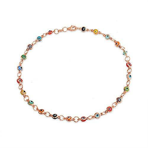 - Turkish Evil Eyes Multi Color Anklet Link Ankle Bracelet For Women Rose Gold Plated 925 Sterling Silver 10 Inch