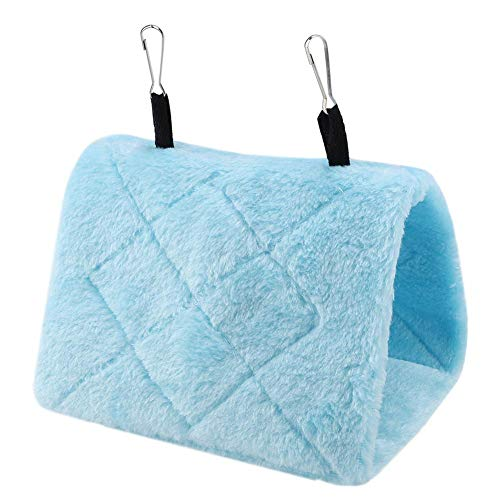 - Peony Parrot Hammock Bird Nest Warm Soft Plush Hammock Hanging Cage Tent for Birds Parrot Winter Warm Bed Pet Toy Pouch Cotton Bed (S- Blue)