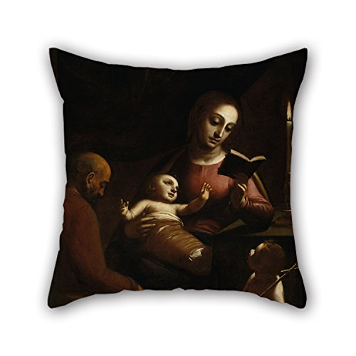 Artistdecor Oil Painting Luca Cambiaso - Holy Family With St John The Baptist Throw Pillow Covers 16 X 16 Inches / 40 By 40 Cm For Lounge,shop,pub,deck Chair,boy Friend,monther With Two Sides