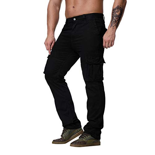 (Men's Premium Relaxed Fit Straight Leg Omfort Stretch Ripstop Outdoor Cargo Pant Pockets (S, Black))
