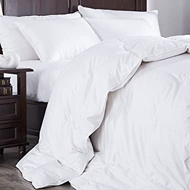 Puredown Heavy Fill White Goose Down Comforter 400 Thread Count 600 Fill Power Eygptian Cotton, King Size White