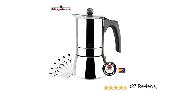 MAGEFESA Genova – La cafetera MAGEFESA Genova está Fabricada en Acero Inoxidable 18/10, Compatible con Todo Tipo de Cocina. Fácil Limpieza (Cromado, 6 Tazas + 6 CUCHARILLAS): Amazon.es: Hogar