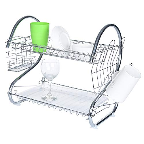 Mobile Cupboard - Iusun S-shaped Dual Layers Kitchen Shelf Storage Dish Drying Rack Mobile Withstand Cupboard Store Pots Cutlery Balcony Seasoning Tool Holder Drainer Organizer- Ship From USA (Silver)
