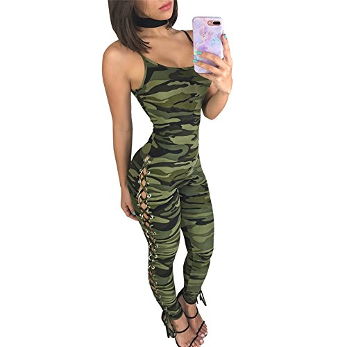 Women's Summer Sexy Camouflage Printed Lace Up Corn Bodycon Bandage Club Dress Romper Jumpsuit Long (Sexy Camo Outfits)