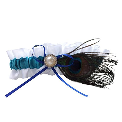 Mao garter - TOOGOO(R) peacock feather charm Diamond Bridal wedding party satin Mao garter ()