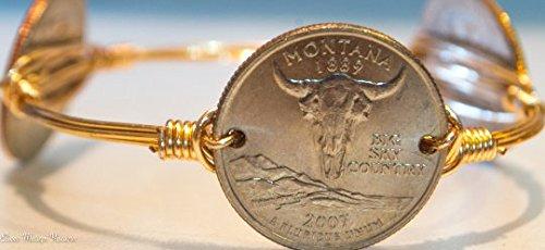 Montana State Quarter - Montana state quarter wire bangle bracelet
