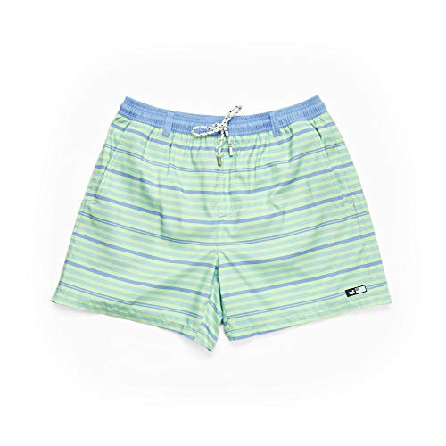 Southern Marsh Dockside Swim Trunk - Stripes, Lilac Lime and Teal, ()