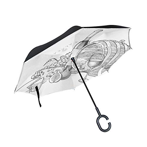 MALPLENA Red Wine Grapes and Cheese Auto Open Inverted Umbrellas with C-Shaped Handle Waterproof Double Layer Folding
