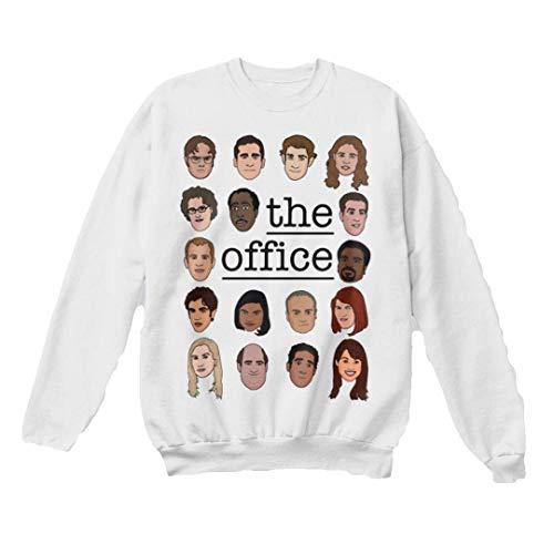 superhotapparel The Office tv Show Sweatshirt cast Cartoon face Dwight Schrute Sweater Jumper Merchandise Gifts (White, 2X-Large) ()