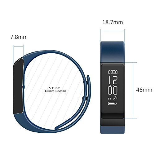 Activity Tracker, Toprime Fitness Tracker Waterproof Bracelet OLED Touch Screen Smart Watch Band with Sleep Monitor, Pedometer Wristband for Andriod and iOS (Blue)