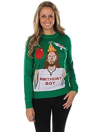 Amazon.com: Women's Ugly Christmas Sweater - Happy Birthday Jesus ...