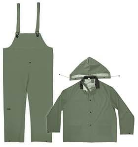 Custom Leathercraft Rain Wear R1312X .35MM Green 3-Piece Rain Suit, 2XLarge