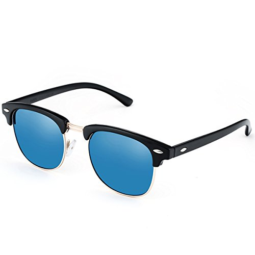 FEIDU Polarized Clubmaster Classic Half Frame Semi-Rimless Rimmed Sunglasses With Box - Clubmaster Cheap Sunglasses