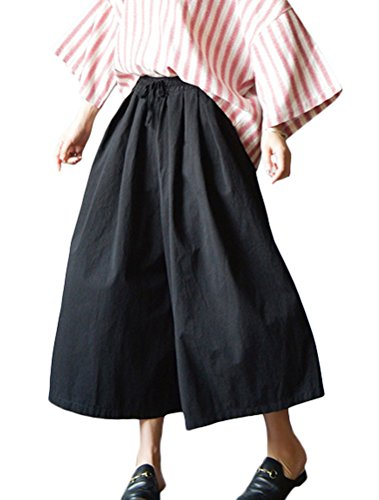 Stripe Wide Leg Trouser - Mordenmiss Women's Vertical Stripes Wide Leg Casual Pants Trouser with Pockets (L, Style 2-Black)