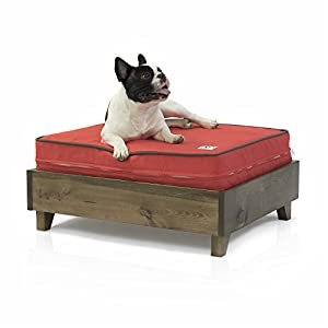 dog bed frame 100 north american pine wood walnut no tools required solid wood foundation w 7 slats included small medium and large dogs - Dog Bed Frame